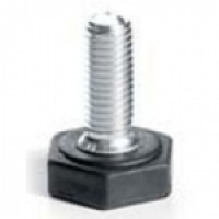 ADJUSTABLE FOOT WITH HEXAGONAL BASE AND ZINC-PLATED IRON BOLT